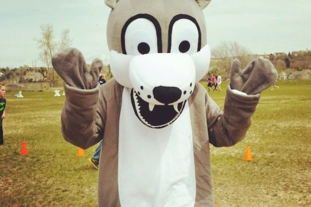 Our Mascot Timber, a wolf.