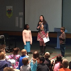 Students being recognized for their HOWLS mindset.
